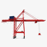 3d ship shore crane rigged model
