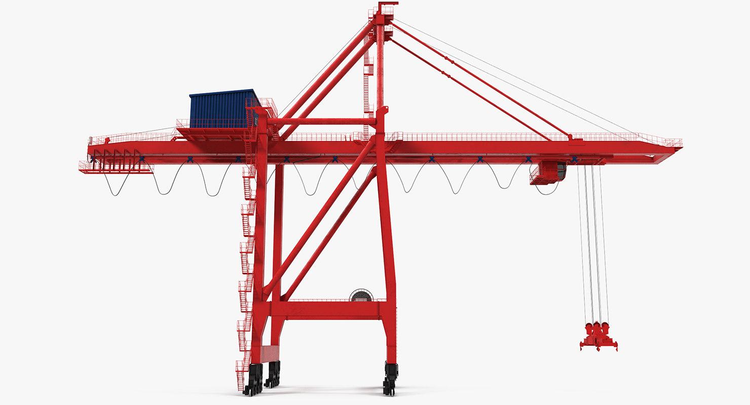 3d ship shore crane rigged model