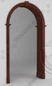 3d model door portal wooden