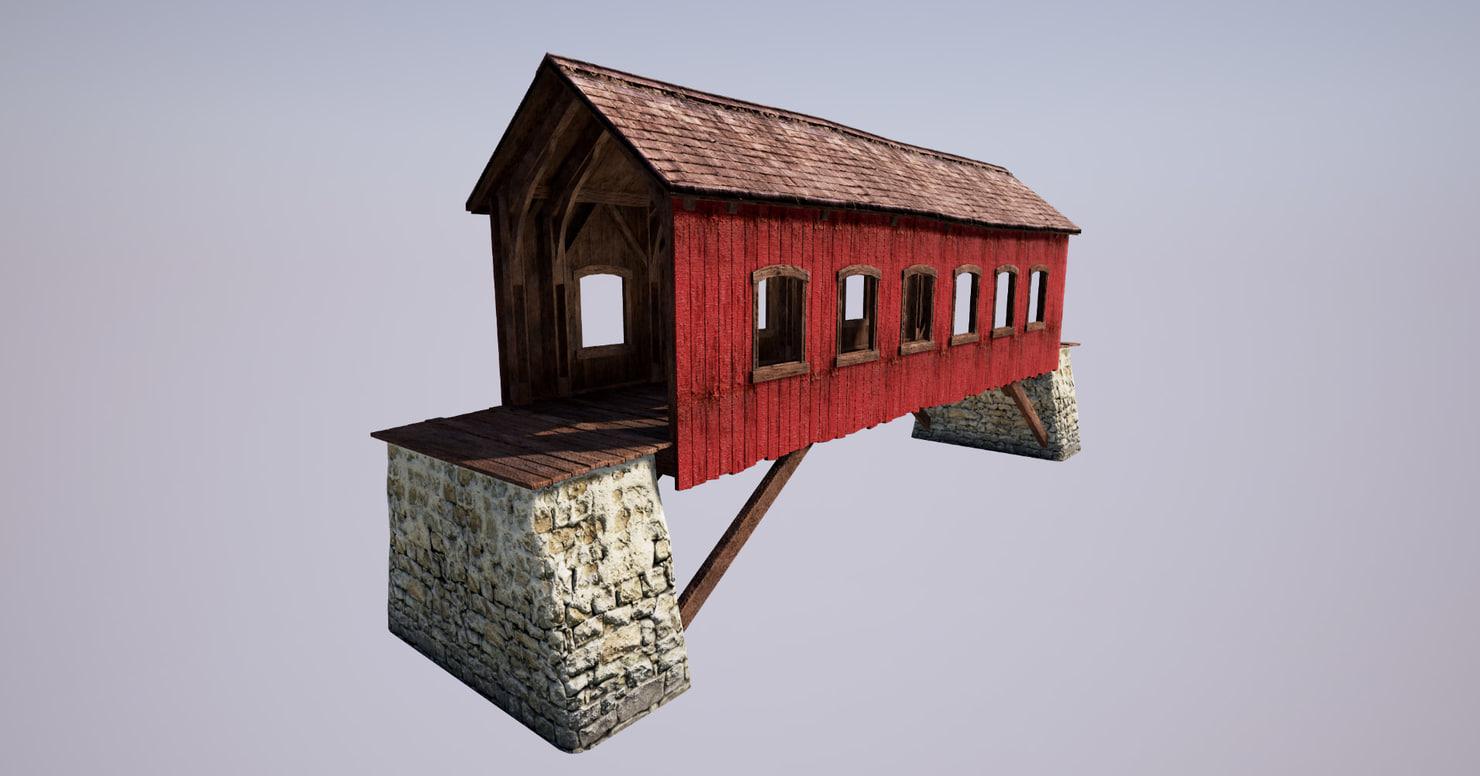 3d covered bridge model