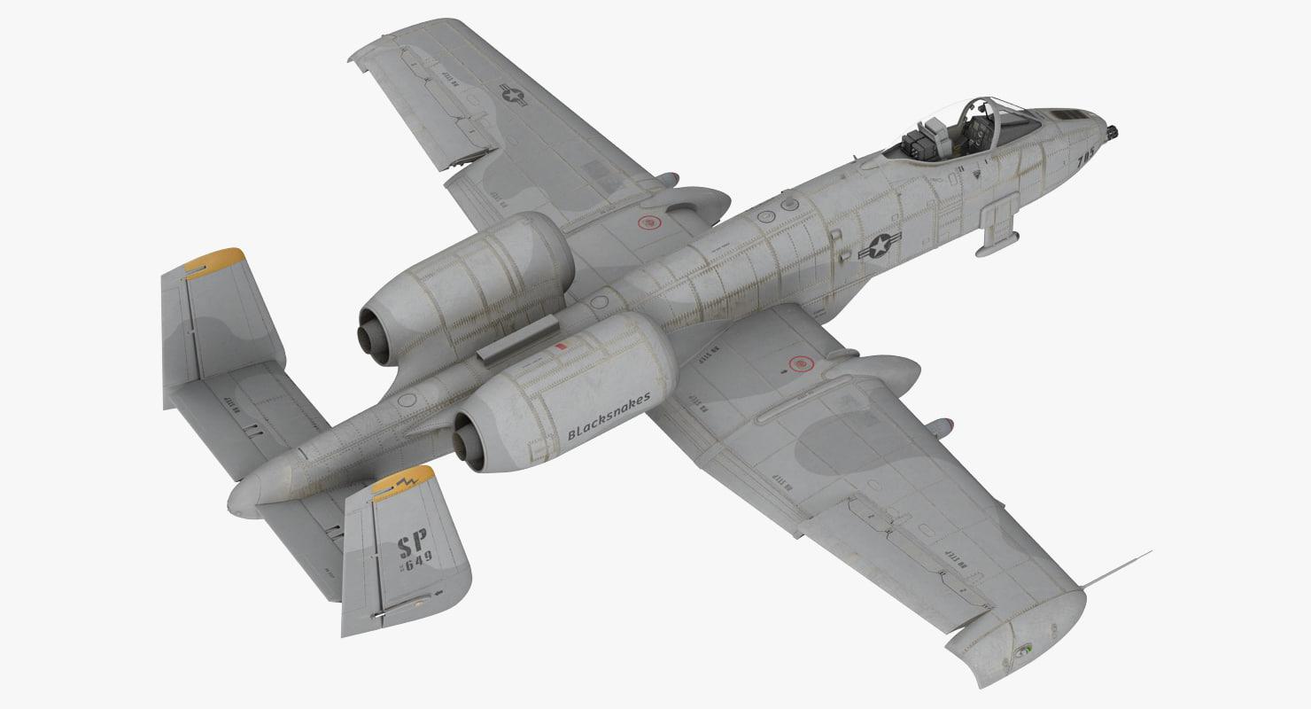 attack aircraft a-10 thunderbolt 3d model