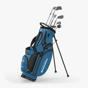 golf bag seahawks clubs 3d model
