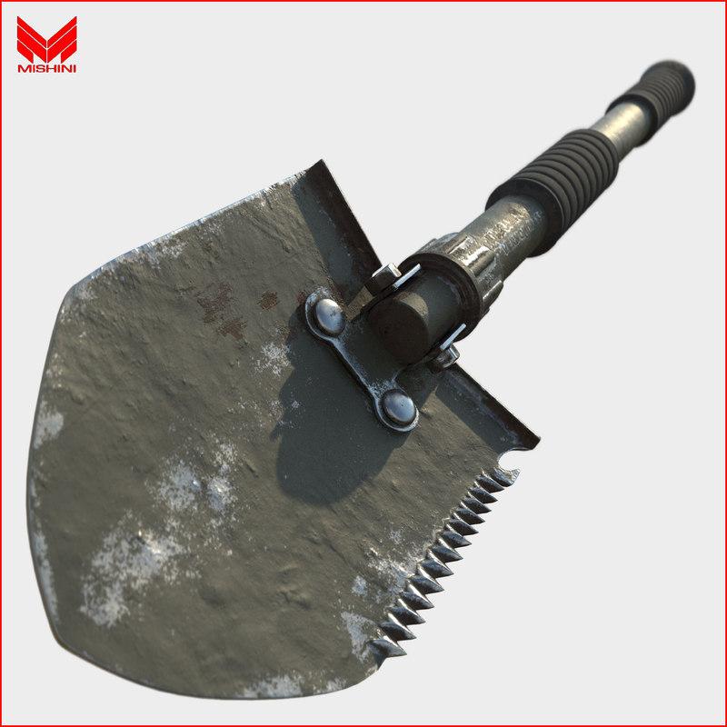 military shovel 3d obj