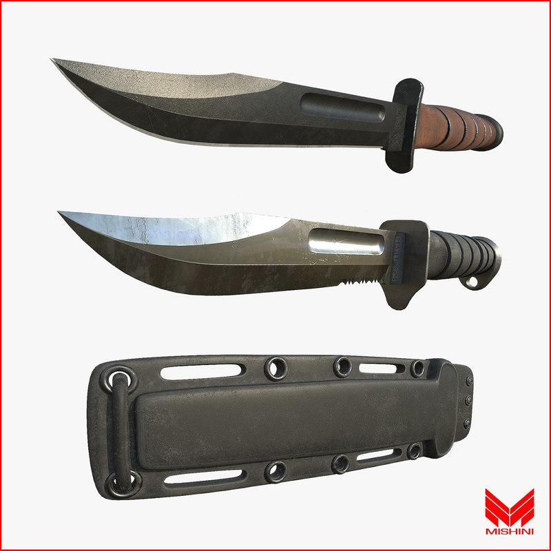 3d model knife pack kabar sheaths