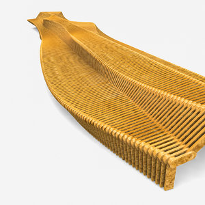 small bench parametric wood 3ds