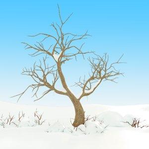 3d snow tree