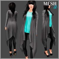 3d model cardigan shirt set