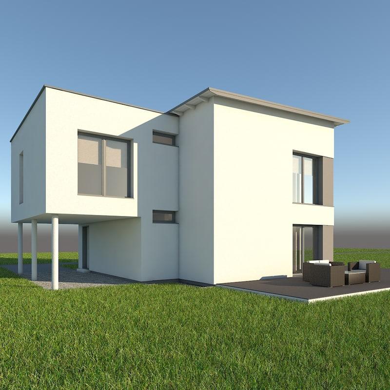 3d obj modern single family home