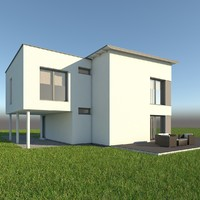 3d obj modern single family home