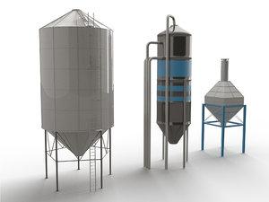 3d model silo set