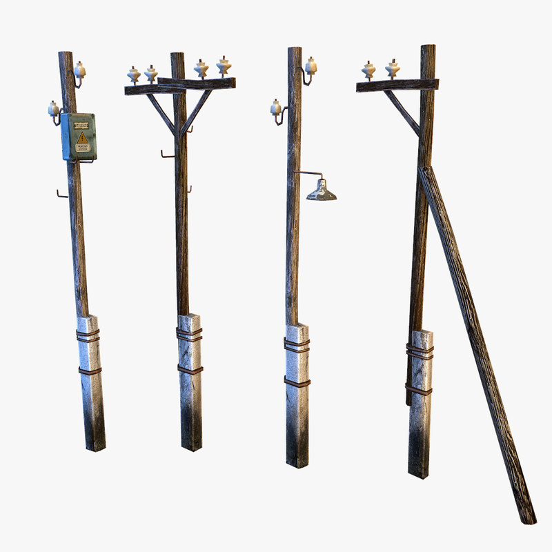 electric pole wire 3d model