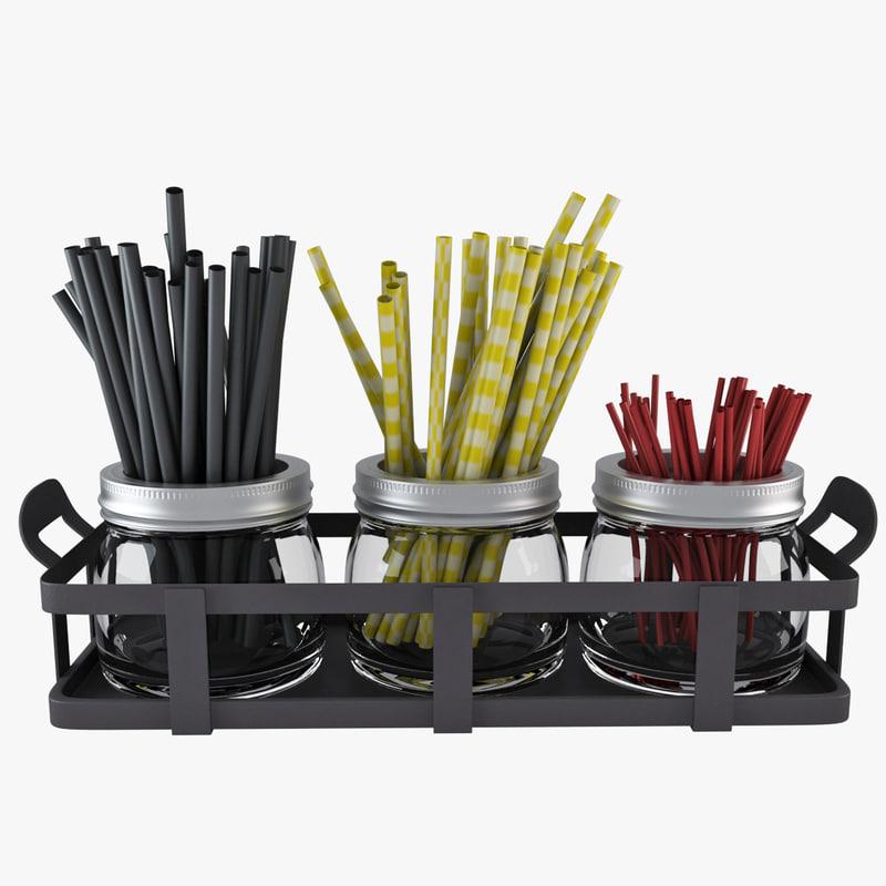jar straw stick 3d model