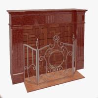 3d model fireplace metal stone
