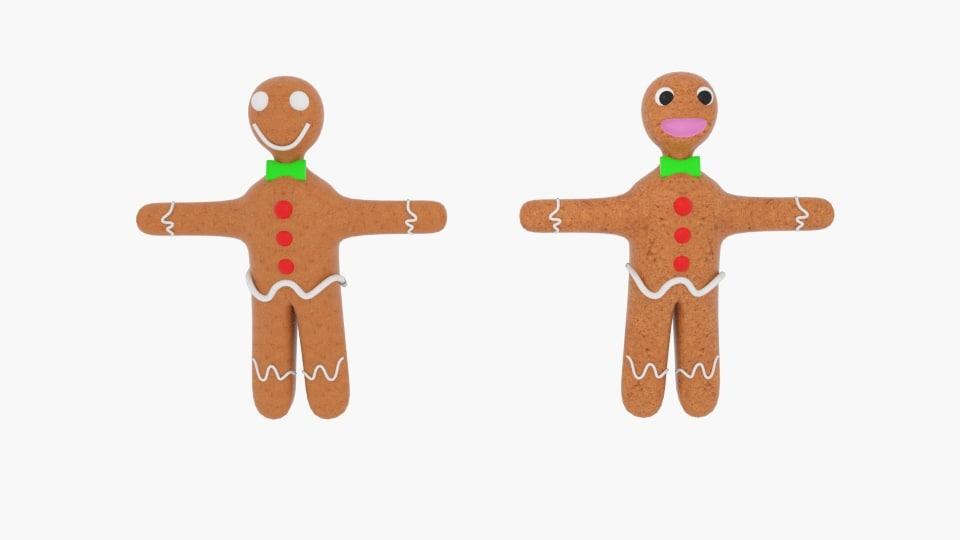 3d obj gingerbread character