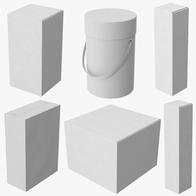 3d cardboard food boxes model