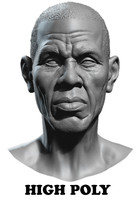 High Poly Head Male black african 5