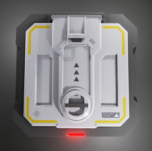 sci-fi hatch 3d obj