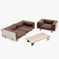loft interior furniture 3d model