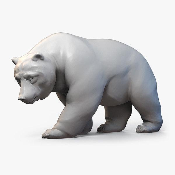 3d model bear walking sculpture