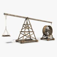 old wooden crane 3d model