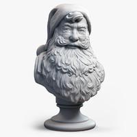 santa claus bust sculpture obj