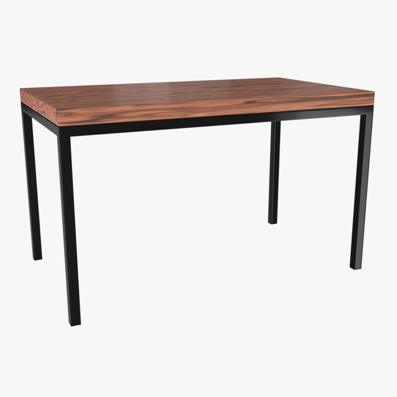 table metal wood 3d 3ds