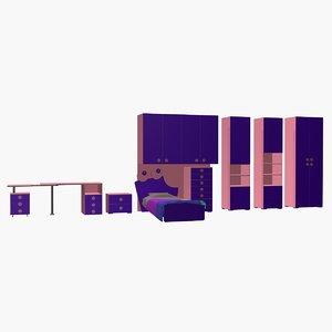 girl bedroom 3d model