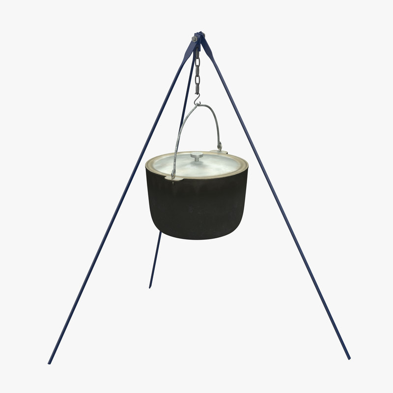 3d model of outdoor camping tripod pot