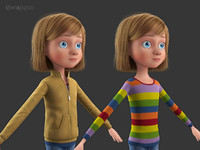 cartoon norig girl 3d obj