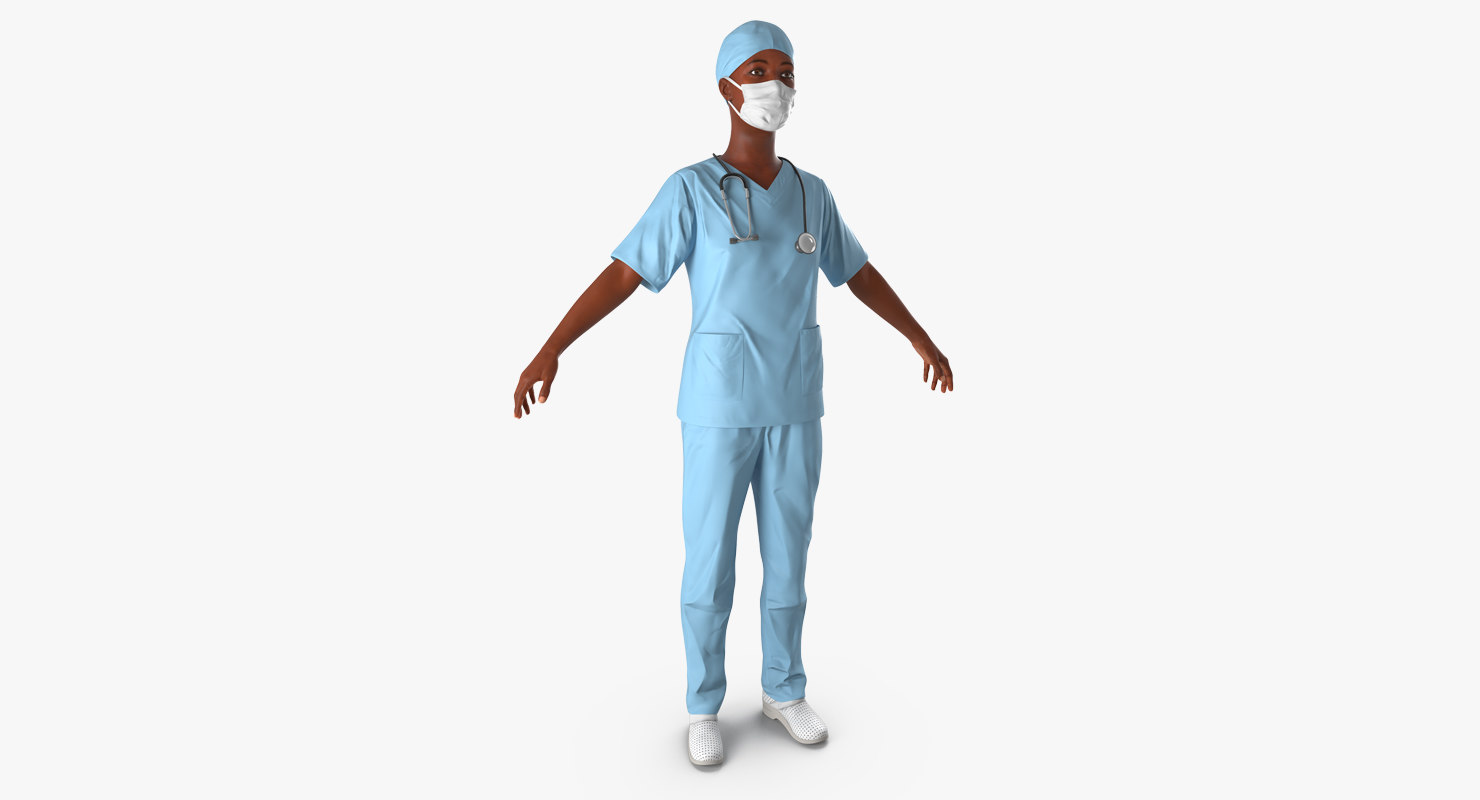 3d max african american female surgeon