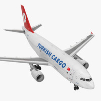 Airbus A310-300F Cargo Aircraft Turkish Cargo Rigged 3D Model