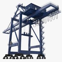 3d container crane blue model