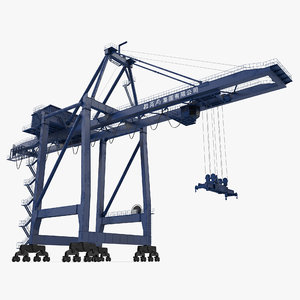 container crane rigged blue 3d ma