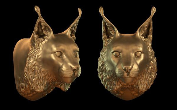 3d obj lynx head