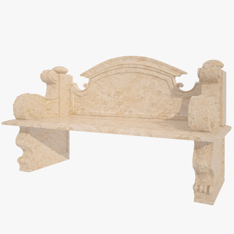 3d model of bench marble