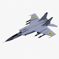 3d model mikoyan-gurevich mig-25pd jet fighter