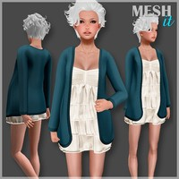 3d cardigan dress set
