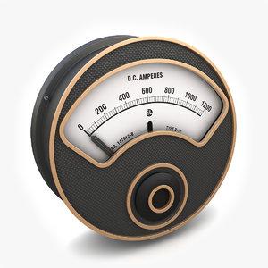 3d model vintage ammeter 03
