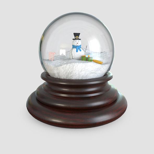 glass snow globes 3d 3ds