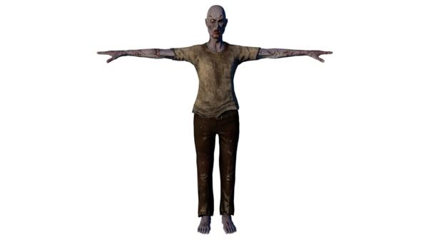 free zombie male 3d model