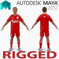 soccer player liverpool rigged 3d ma