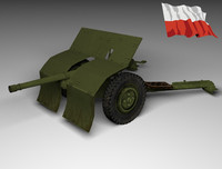 3d model gun polish bofors 37mm