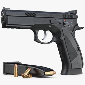 gun cz 75 sp-01 3d model