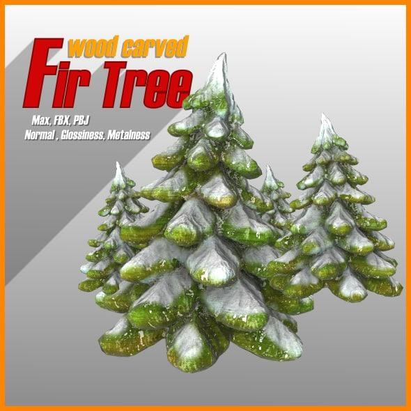 3d model wood carved fir trees