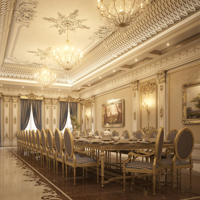 Luxury Dining Room: 3d Model Realistic Luxury Dining Room