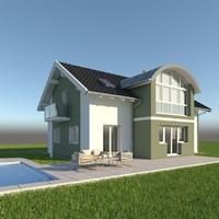 3d model of modern single family home