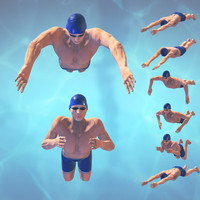 3d model of swimming man rigged frog