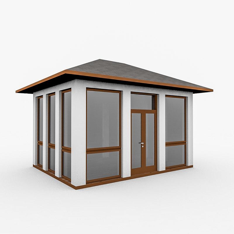 wood gazebo glass 3d model