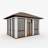 wood gazebo glass 3d model