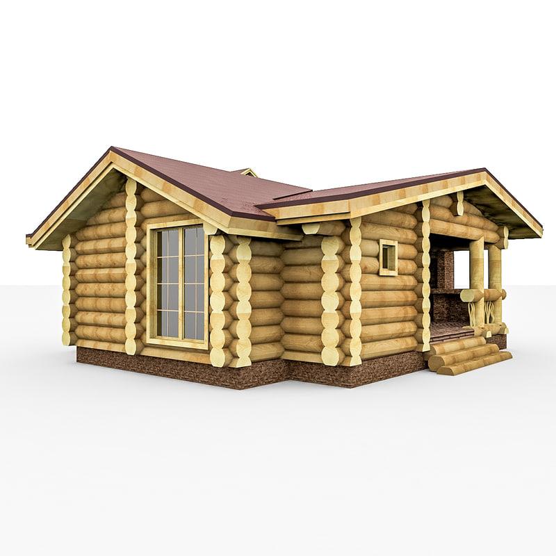 3d model home sauna wood bar